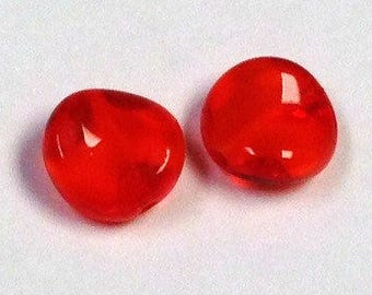 Vintage GIVRE Glass Beads Bright ORANGE RED 10mm pkg4 gl441