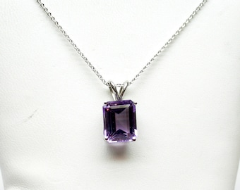 Amethyst Necklace/ Sterling Silver Amethyst Necklace/ February Gemstone Necklace/ Purple Amethyst Necklace/  Birthday Gift/ Gift for her