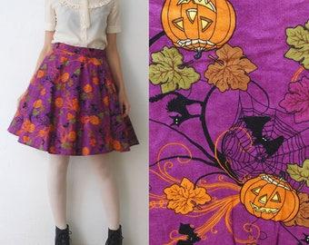 70s 80 Halloween skirt. full circle skirt. cotton mini skirt. novelty print skirt - small to medium