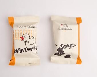 Snob Duck Orange Handmade Soap. Shine with some vitamin C.  With olive oil, coconut oil, cocoa butter, pure orange juice.