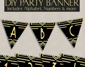 Printable Bunting 1920s theme party decor, roaring twenties banner any phrase, gatsby party ideas, instant download, prohibition era signs