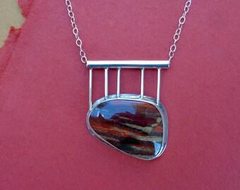 Rainbow Jasper Sterling Pendant Necklace