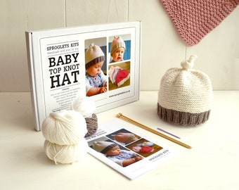 Baby Hat Beginner Knitting Kit / Gift knitting needles / Learn to knit / Easy knitting kit / Baby shower gift / Baby announcement / Baby hat
