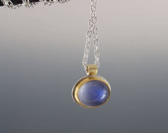 Blue Moonstone Cabochon Necklace - Oval Bezel Set Moonstone Pendant - Gold and Silver - Artisan Jewelry