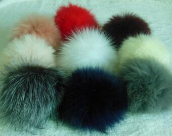 13cm Real Fox Fur Pom Pom Balls Knit Hat Pompoms Removable