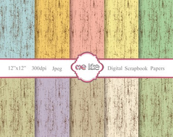 Digital Scrapbooking Aged Paper Pack  -INSTANT DOWNLOAD-Digital Paper for Personal or Commercial Use - 10 Sheets - 300 DPI -