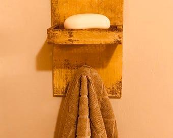 Primitive Soap Dish/ Towel Holder