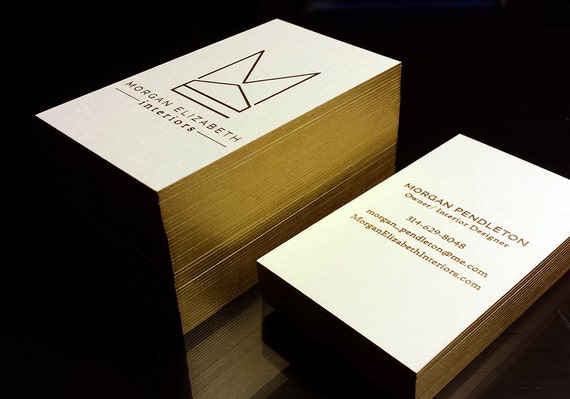 Letterpress business cards 2 foil colour edge printing reheart Image collections