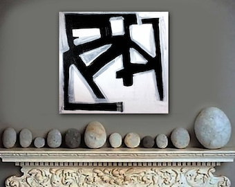 """original abstract black and white painting - modern art - graphic design - 12""""x12"""" acrylic on canvas - contemporary fine art - minimal"""