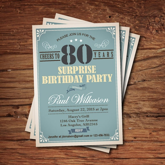 Surprise 80th birthday invitation for man guy any age like this item filmwisefo Image collections