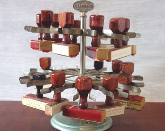 Vintage Rubber Stamp Holder, Industrial Metal Two Tier Carousel, Standard Rotating Desk Stand, 19 Rubber Stamps