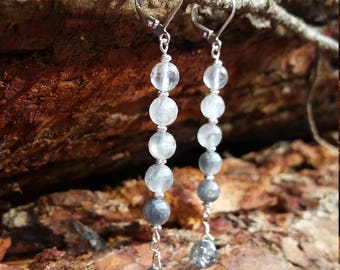 Long earrings with cloudy quartz beads and tourmalinated quartz