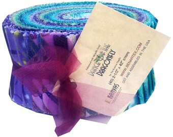 """Back In Stock! Benartex Dance Of The Dragonfly Pinwheel 2.5"""" Precut Fabric Quilting Cotton Strips Jelly Roll"""