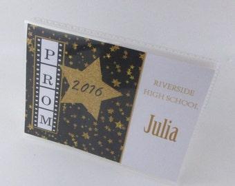 Prom photo album high school senior scrapbook album junior senior prom black gold glitter star personalized photo book 4x6 5x7 picture 594