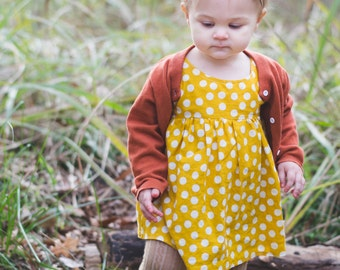 girls dresses, baby dress, dresses, fall outfit, mustard yellow, polka dot dress, toddler dress, fall fashion, family pictures, newborn