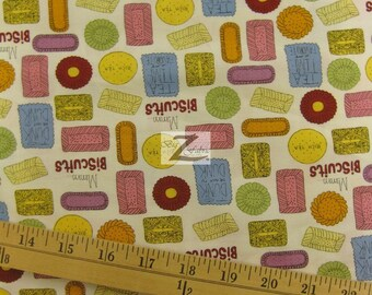 """Biscuits Metro Cafe By Robert Kaufman 100% Cotton Fabric - 45"""" Width Sold By The Yard (FH-517)"""
