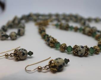 Dalmatian Jasper Jewelry Set. Necklace, Bracelet, Earings