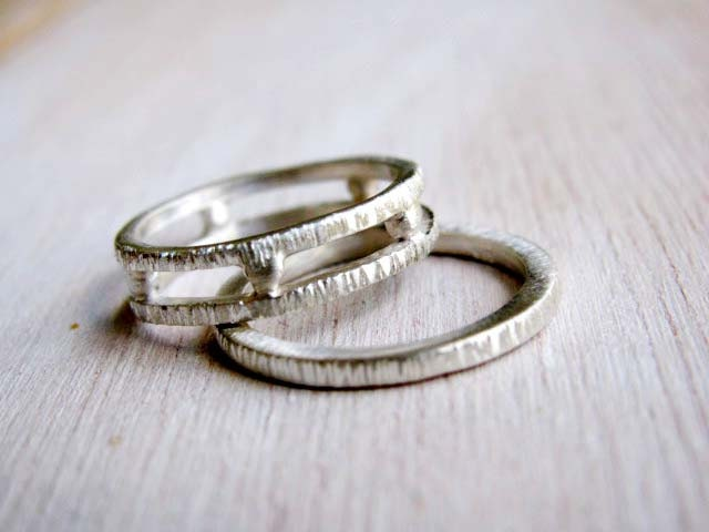 Grecian Geometrical Wedding Bands Set Of Two Organic Wedding