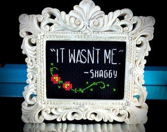 Mini White Baroque Framed Cross Stitch - Shaggy - It Wasn't Me