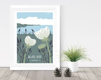 Nature print, Walls Hill in Torquay, Devon illustration, coastal print, Wild Carrot and Knapweed A4 or A3 giclee print