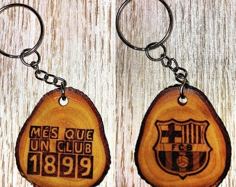 Sliced Olive wood keyrings FCBARCELONA ' month that a club 1899 '