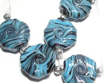 Handmade  Lampwork Glass Beads,Turquoise Twist  Whirled Tabular Beads