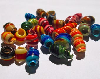 African Recycled Plastic Beads - Fair Trade from Ghana - Pack of 10 - Size 5mm approx