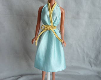 Vintage Barbie Tagged Turquoise Yellow Halter Dress #1910 1979