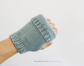 hand knit fingerless gloves || 2-way to wear fingerless mittens || mattress stitch || gifts for unisex || cute driving gloves -sea spray