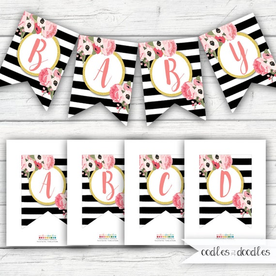 Pink and Gold Banner Floral Banner Black and White Stripes