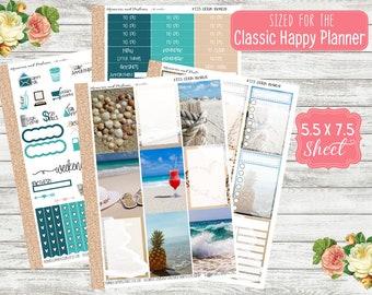 KT23 Ocean Breeze - CLASSIC HAPPY Planner Sticker Kit - Photo Planner Stickers - Beach Happy Planner 365 - Weekly Planner - MAMBI Stickers