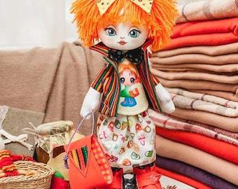 "Doll Making Kit, Set for sewing doll, Textile doll ""Girlfriend"", Set for textile doll, Handmade doll, Sewing kit"