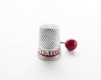 Vintage Aluminium Advertising Thimble -  Henderson Corsets Thimble -  Sewing Thimble