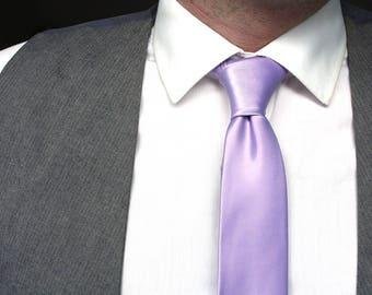 Mens Tie Purple Pastel Lavender Skinny Tie Wedding Ties Grooms necktie Gift for groom
