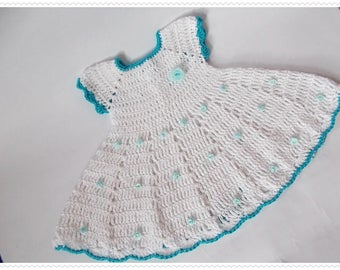 Crochet Baby Dress, White Newborn dresses, White baby dress, baby dresses, Baby flower dress, White dress, knit baby dress, Baby shower