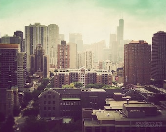 Chicago art, black and white photography, Chicago skyline, landscape, wall decor, Chicago photograph - Sunshine Over Chicago