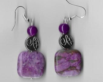Purple Silvertone Square Earrings
