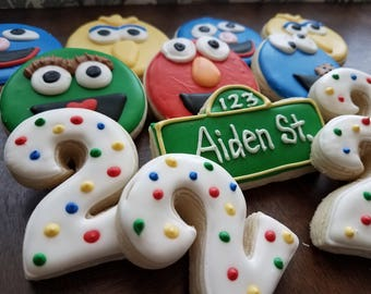 Sesame Street Sugar Cookies, Elmo cookies, cookie monster cookies, second birthday sugar cookies