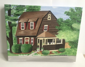 Custom Home Portrait on Canvas