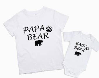 Papa Bear Baby Bear Dad and son shirts Father and baby matching shirts Daddy and daughter shirts  Matching Bears Family Baby Bear Onesie
