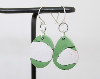 mint green and white concrete earrings, concrete jewelry, geometric jewelry, minimalist jewelry, unique gift, mothers day