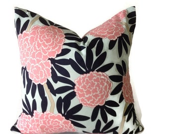 Caitlin Wilson Navy Fleur Chinoise Pillow Cover in Blue and Pink, Decorative Pillow, Throw Pillow, High End, Blue, Pillow Covers, Floral