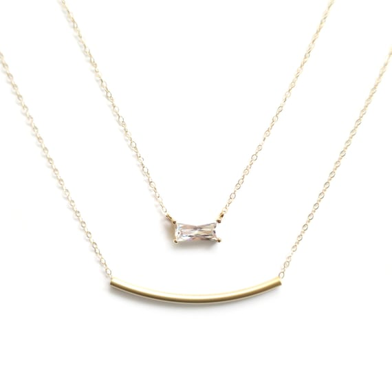 Bezel Diamond Pendant and Gold Bar Layer Necklace