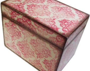 Recipe Box, Decoupage Wedding Guest Book, Holds 4x6 Cards, Storage, Organization, Bridal Shower Box, Pinkish-Redish Damask, MADE TO ORDER