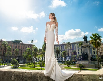 Mermaid Illusion Plunging V Long Sleeve Wedding Gown
