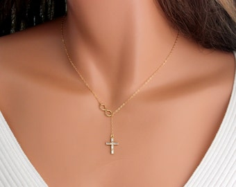 Swarovski Crystal Cross Infinity Necklace Gold Filled Delicate Jewelry Lariat Y Necklaces Women Girls Confirmation Simple Gift