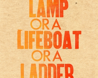 Be a Lamp letterpress poster