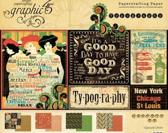 CLEARANCE SALE!  Graphic 45 Typography 8x8 Paper Pad SC006468