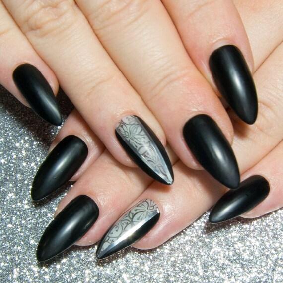 Matte Black Fake Nails Almond Press On Nails Pointy False
