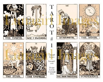 Sepia VINTAGE TAROT digital collage sheet, Victorian cards, occult art fortune teller gypsy witch, Ryder steampunk magical ephemera DOWNLOAD